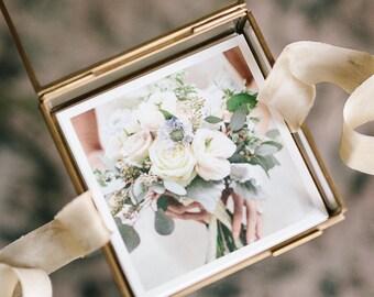Glass Keepsake Box, Jewelry Box, Bridal Party Gift, Bridesmaid Gift, Wedding Photo Book, Coffee Table Photo Box, Wedding Picture Frame 1709