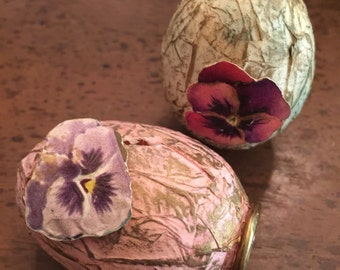 Pretty Paper mache Easter eggs wit paper scrsp