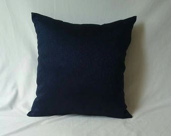 Nav Blue self print floral  pillow   Decaretve navy blue brocade  cushion cover. Luxury pillow.  Custom made 18inch.