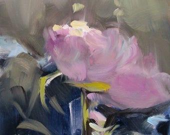 Rose at Dawn - impressionistic oil painting - pink rose impressionism - small original oil painting by SC artist Linda Hunt - dawn - flora