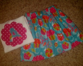 Birthday Party Owls and Cupcakes Candy Applique Tee Shirt and Skirt Set Outfit Any Size 12m 18m 24m 2T 3T 4 5 6 7 8 9 10