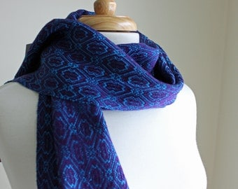 Amethyst purple and blue ming handwoven tencel scarf