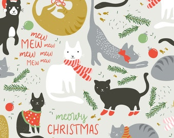 Christmas Cat Fabric - Meowy Christmas By Shelbyallison - Merry Christmas Holiday Cat Cotton Fabric By The Yard With Spoonflower