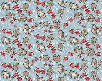 Blue Winter Cat Fabric - Kittens And Mittens By Woodmousebobbit - Kittens Cotton Fabric By The Yard With Spoonflower