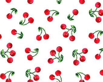 Retro Cherries Fabric - Cherry Picnic By Ileneavery - Retro Red, White, and Green Cherry Cotton Fabric By The Yard With Spoonflower