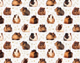 Geometric Guinea Pig Animal Fabric - Lots Of Little Guinea Pigs By Micklyn - Animal Cotton Fabric By The Yard With Spoonflower