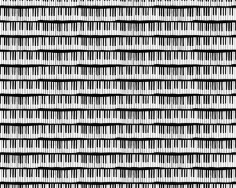 Black and White Piano Fabric - Ebony And Ivory By Graceful - Black and White Modern Music Cotton Fabric By The Yard With Spoonflower
