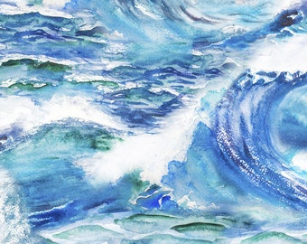 Ocean Waves Fabric - Ocean Waves By Svetlana Prikhnenko - Summer Watercolor Ocean Cotton Fabric By The Yard With Spoonflower