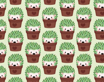 Hedgehog Fabric - Smaller Hedgehogs Disguised As Cactuses By Petitspixels - Hedgehog Cotton Fabric By The Yard With Spoonflower