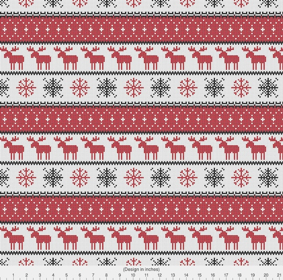 Christmas Moose Fabric Fair Isle Moose Red Winter Knits