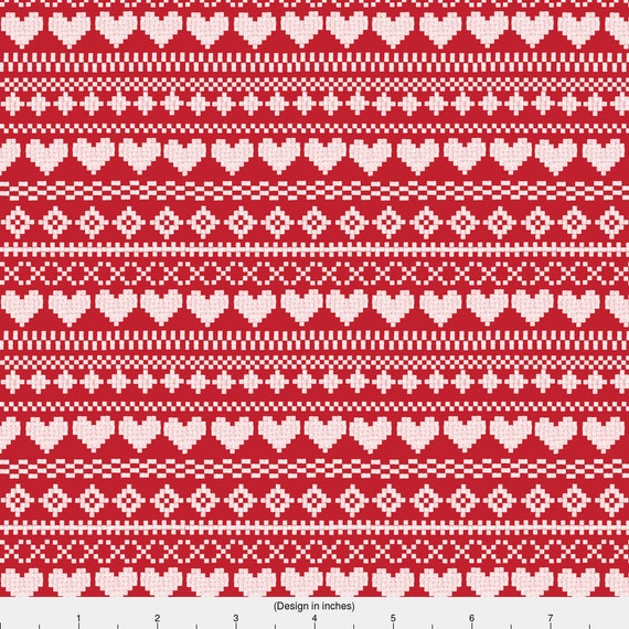 Red and White Fair Isle Fabric - Fair Isle White Red By ...