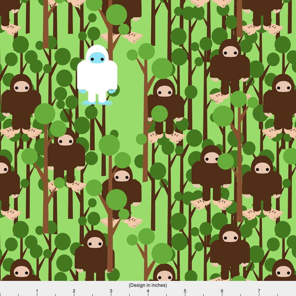 Sasquatch Fabric Lost In Bigfoot Forest Small By