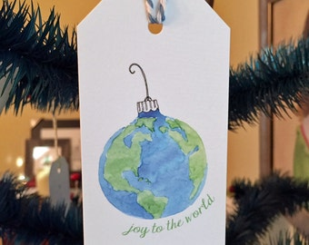 Joy to the world - earth ornament - set of 6 mini gift tags - Rachelink hand drawn cards