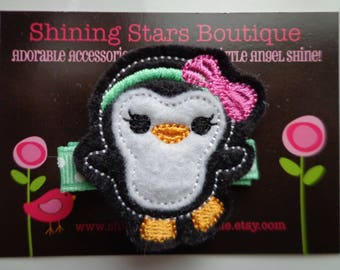 Hair Accessory - Hair Clips - Black & White Embroidered Felt Penguin With A Mint Green Headband And Hot Pink Bow Hair Clippie - Zoo Animal