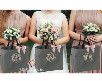 3 bridesmaid tote bags , bridesmaid gifts , tote bag , beach bag , bachelorette party gift ,wedding bag , bridal party gifts