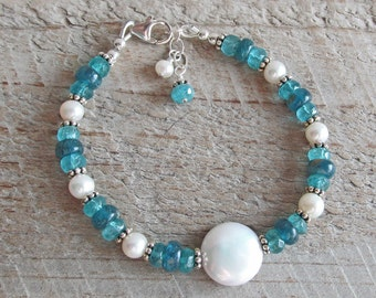 Peacock Blue Apatite Freshwater Pearl Coin Natural Healing Gemstone Bracelet