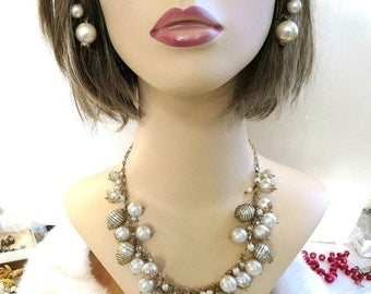 Vintage Caged Faux Pearl BIB Necklace and Dangle Earrings Set