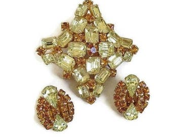 Citrine & Golden Topaz Rhinestone Brooch and Earrings Set Vintage