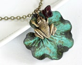 Frog Lily Pad Necklace - Patina Jewelry, Frog Jewelry, Leaf Jewelry, Nature Jewelry, Garden Necklace, Garden Jewelry, Nature Necklace