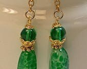 Vintage Japanese Green Spotted Glass Bead Dangle Earrings, Vintage German Glass, Gold Chain,Handmade Bali 24k Gold Vermeil Beads,Ear wires