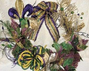 Mardi Gras Wreath,trendy Wreaths,Decor Mesh Wreaths,Holiday Decor,Wreaths,Holiday Wreaths,Mardi Gras Celebration,Mesh Wreaths,Door Decor