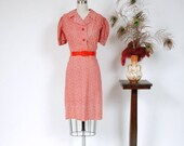 2 DAY SALE - Vintage 1930s Dress - Late 30s Puff Sleeve Calico Floral Day Dress with Shiny Buttons
