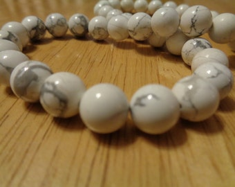 10mm White Howlite Beads Round - Full Strand Genuine Gemstone