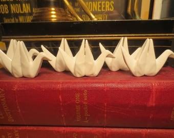 Set of 6 Ceramic Origami name tag holders / dinner party name tag / place tag holder / origami bird name tag holders / ceramic origami bird