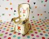 Vintage Metal Dollhouse Miniature Rocking Chair Furniture Salt Shaker