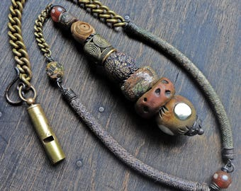 "Rustic Lariat pendant drop necklace. Wearable art by fancifuldevices - ""Hesychastic"""