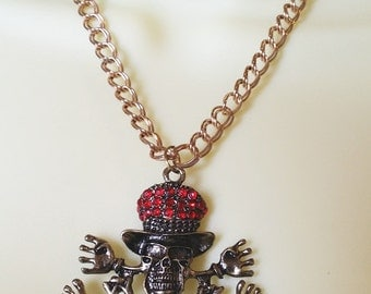red crystal skull necklace skeleton necklace skull jewelry skeleton statement jewelry skull pendant Day Of The Dead statement jewelry goth