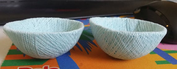 light blue string bird nests twine bowls decorations art nature decor party crafts yarn dish supplies
