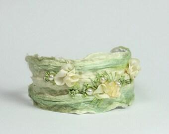 Fiber Art Bracelet, mori girl in light green, made of silk fiber, embroidered