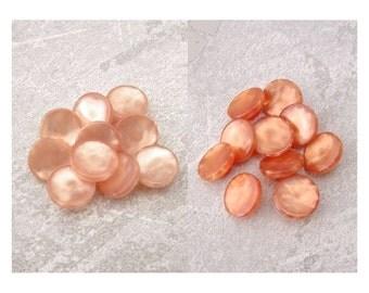 Little Orange Buttons, 12mm 3/8 inch - CHOOSE Light, Dark Peach - Satin Orange Plastic Buttons - 10 NOS VTG Orange Shank Buttons PL574 2LS