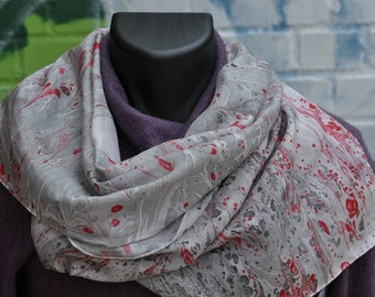 Hand Painted Silk Scarf Red, Black, and Grey Made in Asheville, NC MM-#10-4816