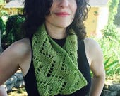 Spring Clearance guacamole cowl, wool, alpaca, chevron, hand knit, green