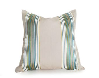 Beige Aqua Pillow Covers, Tan Green Pillows, Striped Designer Pillows, Sea Green Gold Cream Stripes Pillow, 12x18, 18x18, 20x20