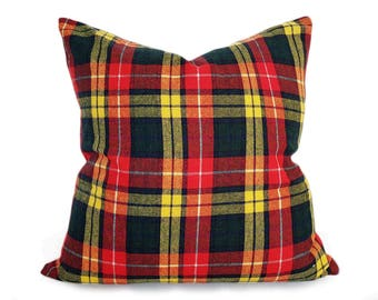 Buchanan Tartan Plaid Pillow, Traditional Wool Plaid Pillows, Red Green Yellow Plaid Pillow, Scottish Plaid Cushion Cover, 20x20