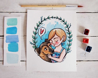 CUSTOM PORTRAIT illustration, personalized watercolor & ink portrait