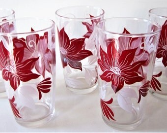 Cranberry Red White Amethyst Berry Glass Tumbler POINSETTIA or CLEMATIS Flowers Floral Vine Rare