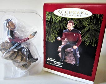 Star Trek Next Generation HALLMARK ORNAMENT William T Riker Commander Beam Me Up 1996 Enterprise Keepsake Xmas