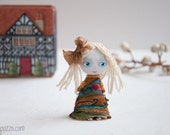 Little Girl and her Tiny House, Art Doll Brooch, gift for her