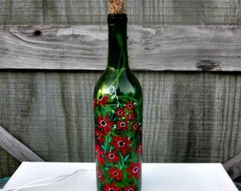 Wine Bottle Light, Night Light, Hand Painted Green Wine Bottle, Red Flowers