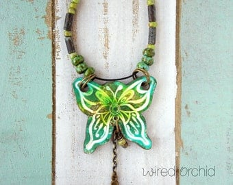 Polymer Clay Pendant Beach Boho Festival Jewelry featuring Chunky Butterfly Design in Turquoise Green, Lime and White