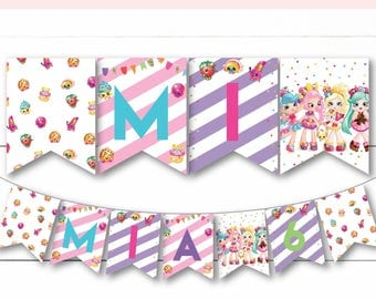 Instant Download - Editable - Shopkins and Shoppies Birthday Party Banner Decor