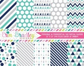 60% OFF SALE Commercial Use Digital Paper Pack, Navy Blue Turquoise Silver Digital Papers, Polka Dot Arrow Chevron Striped Doodle Digital Pa