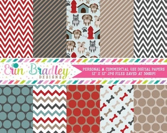 50% OFF SALE Puppy Dog Party Digital Paper Pack Commercial Use Instant Download