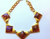 Yves Saint Laurent Dichroic Pink Glass Cabochon Stone Necklace Runway Couture YSL Vintage Choker Collar Modernist Triangle Art Glass Gold