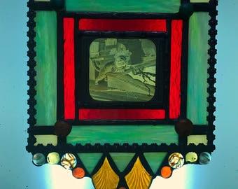 Stained Glass Window w Antique Image of Kitten Cat Spilling Ink