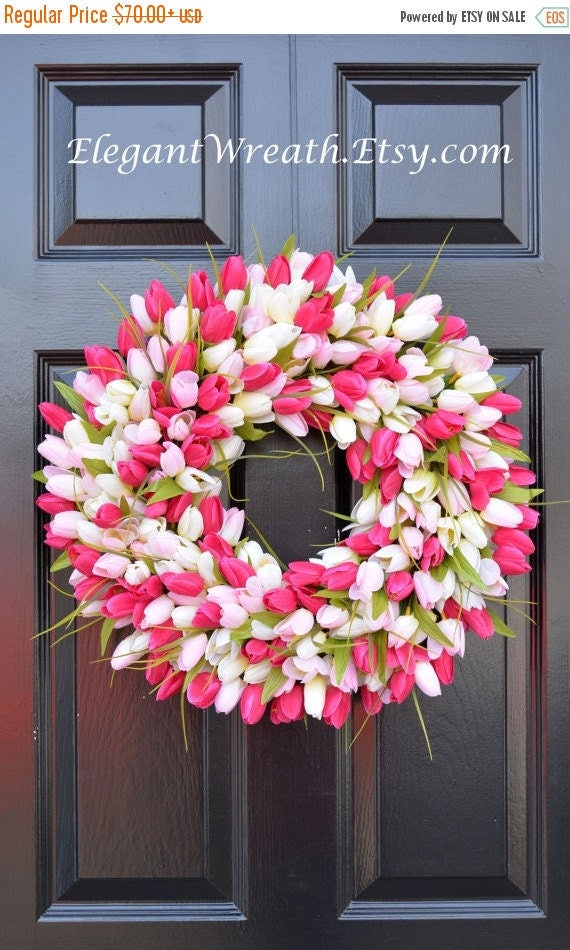 SPRING WREATH SALE Pink Tulip Wreath- Spring Wreath- Mother's Day Wreath- Gift for Mom- Mother's Day Gift- Shabby Chic Decor